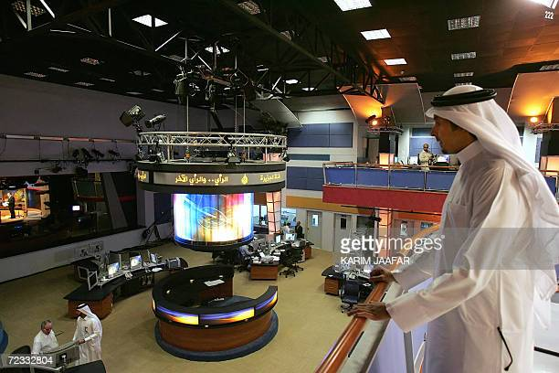 A general view shows the newsroom at the headquarters of the Qatarbased AlJazeera satellite channel in Doha 01 November 2006 The Englishlanguage...