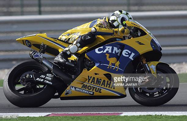 Italian rider and world champion Valentino Rossi of Yamaha in action during the Qatar Grand Prix World Championship 08 April 2006 at the Losail...