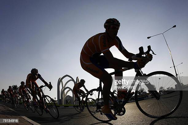 Members of Dutch team Rabobank ride their bicycles during the first stage of the 6th edition of the Tour of Qatar cycling race, a team time-trial, in...