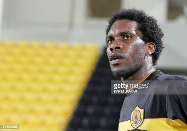 Nigerian player Jay-Jay Okocha of Qatar club looks on during a friendly match against the al-Arabi club in Doha, 20 Augst 2006. Okocha has signed a...