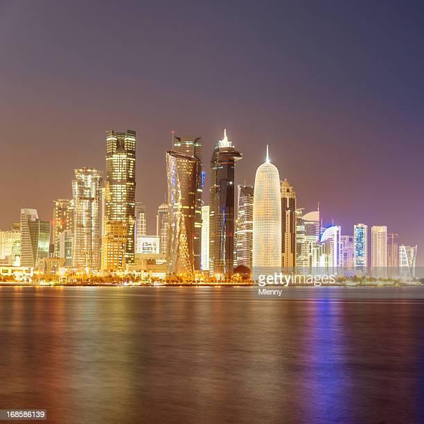 Doha Qatar Night Skyline