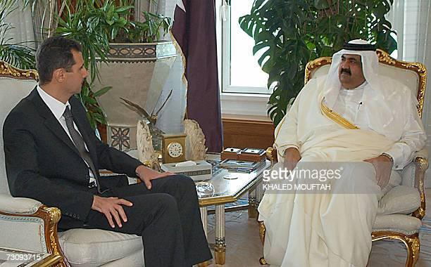 Qatar's Emir Sheikh Hamad bin Khalifa alThani meets with Syrian President Bashar alAssad in Doha 24 January 2007 Assad who is reportedly on a brief...