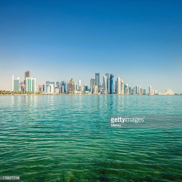 doha qatar skyline - doha stock pictures, royalty-free photos & images