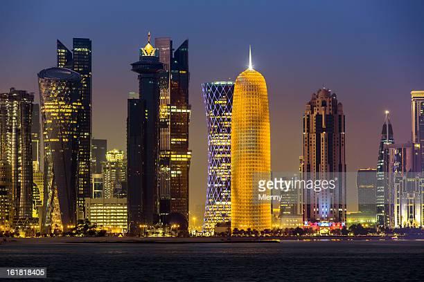 Doha Qatar Skyscraper by Night