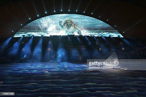 The Qaf boat is seen during the Sea of Life, the Storm, segment of the opening ceremony for the 15th Asian Games at Khalifa Stadium in Doha, 01...