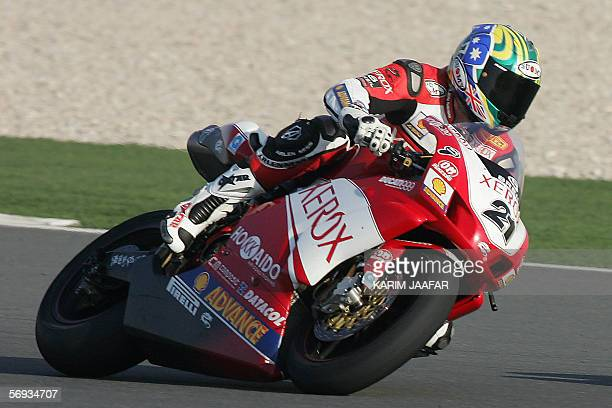Troy Bayliss of Australia on his Ducati 999 F06 during the first round of the World Superbike Championship held at the Losail International Circuit,...