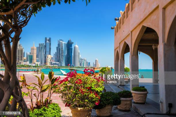 doha, qatar - view to modern skyline with skyscrapers - qatar stock pictures, royalty-free photos & images