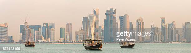 Doha skyline at sunrise, Qatar, Middle East