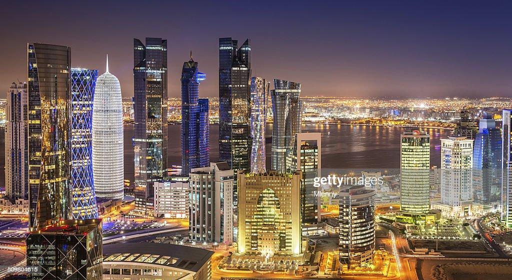 Doha Skyline Panorama, Qatar Cityscape from Above at Night : Stock Photo