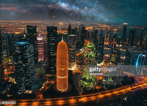 doha skyline, qatar cityscape from above at night - doha stock pictures, royalty-free photos & images