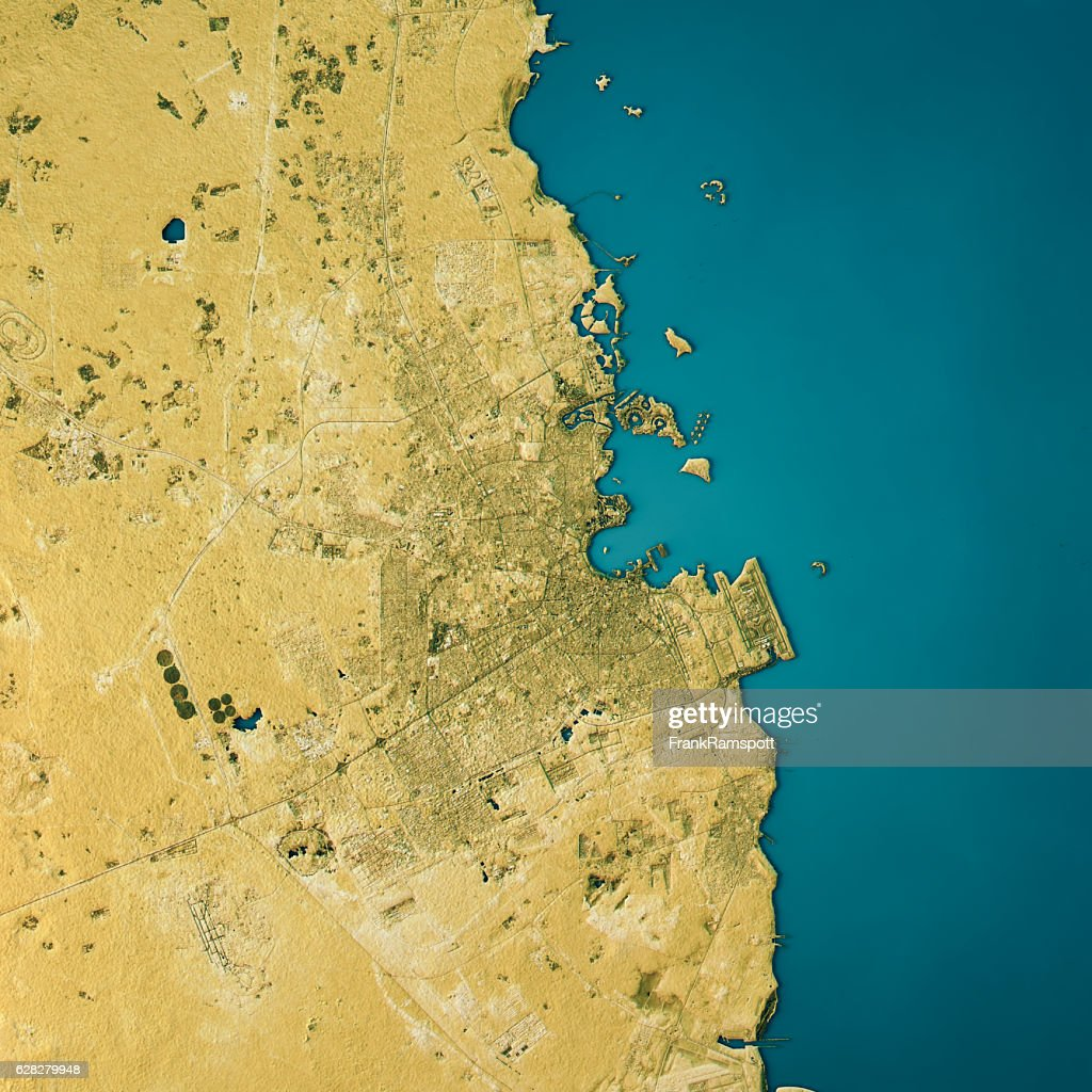 Doha Topographic Map Natural Color Top View : Stock Photo