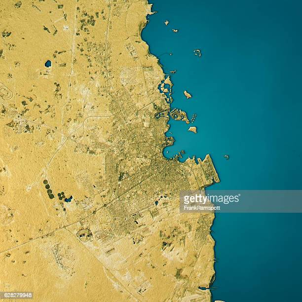 doha topographic map natural color top view - frank ramspott stock pictures, royalty-free photos & images