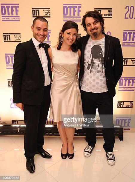 Doha Tribeca Film Festival coprogrammer Chadi Zeneddine Doha Tribeca Film Festival coprogrammer Hania Mroue and Scandar Copti attend the Awards Show...