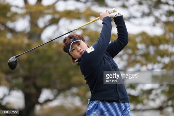 Dohi Kurumi plays a tee shot on the second hole during the final round of the Rashink Nijinia/RKB Ladies at the Queens Hill Golf Club on March 29...