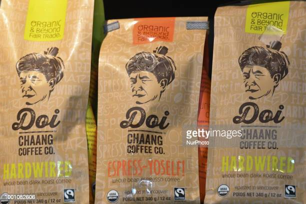 Doi Chaang coffee on display for sale inside a coffee shop in Chiang Rai The Doi Chaang brand has been rated in the top 1% of coffees worldwide by...
