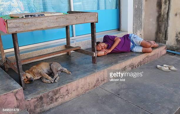 Doi Saket, Strassenszene: Mann und Hund liegen schlafend auf dem Gehweg