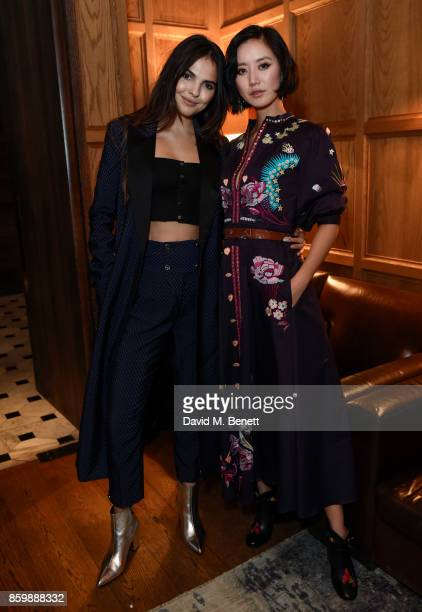 Doina Ciobanu and Betty Bachz attend the launch of the book 'Alice Temperley English Myths and Legends' at The London Edition Hotel on October 10...