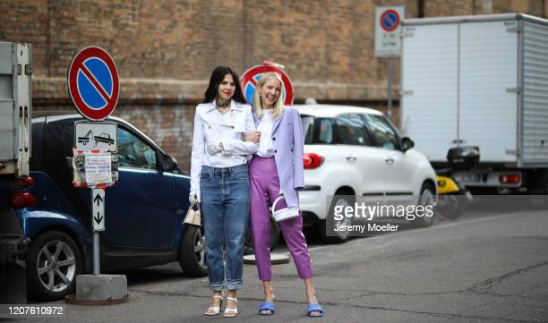 Doina Ciobanu and Leonie Hanne outside Max Mara during Milan Fashion Week Fall/Winter 2020-2021 on February 19, 2020 in Milan, Italy.