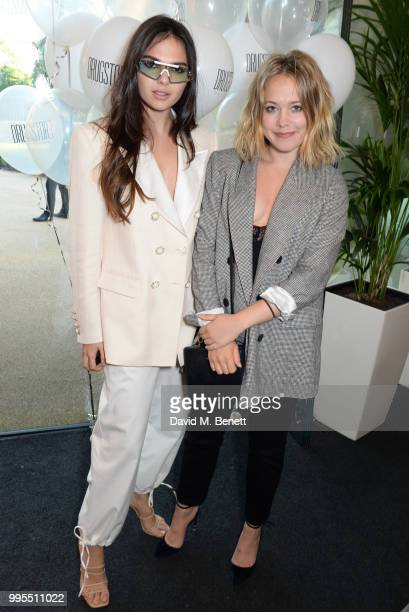 Doina Ciobanu and Poppy Jamie attend the launch party for the inaugural Issue of Drugstore Culture at Chucs Serpentine on July 10 2018 in London...