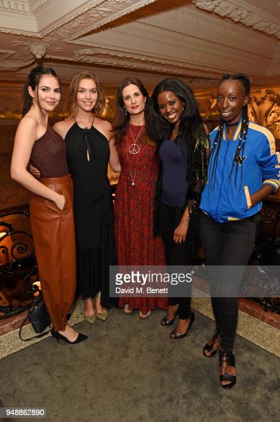 Doina Ciobanu Arizona Muse EcoAge founder and creative director Livia Firth June Sarpong and Eunice Olumide attend the Eco Age Earth Day party at The...