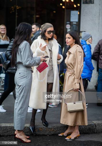 Doina Ciobanu Bettina Looney and Anna Rosa Vitiello seen outside Max Mara on Day 2 Milan Fashion Week Autumn/Winter 2019/20 on February 21 2019 in...