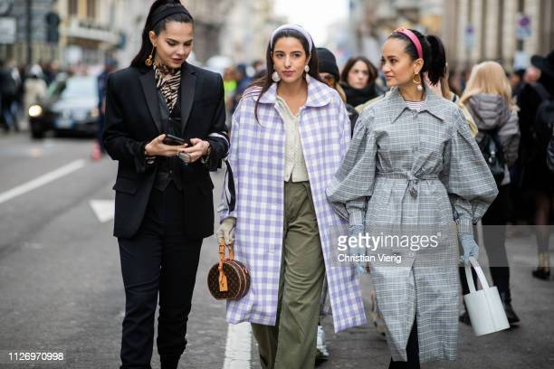Doina Ciobanu Bettina Looney Anna Rosa Vitiello attends the Ermanno Scervino show at Milan Fashion Week Autumn/Winter 2019/20 on February 23 2019 in...
