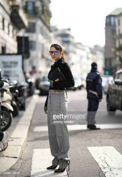 Doina Ciobanu is seen before Sportmax during Milan Fashion Week Fall/Winter 2020-2021 on February 21, 2020 in Milan, Italy.