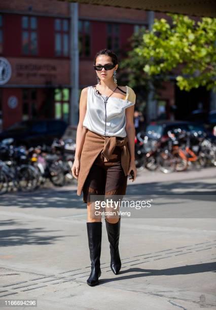 Doina Ciobanu is seen outside Freya Dalsjø during Copenhagen Fashion Week Spring/Summer 2020 on August 07, 2019 in Copenhagen, Denmark.