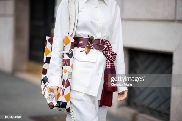 Doina Ciobanu is seen wearing belt white shorts jacket outside Roberto Cavalli on Day 4 Milan Fashion Week Autumn/Winter 2019/20 on February 23 2019...