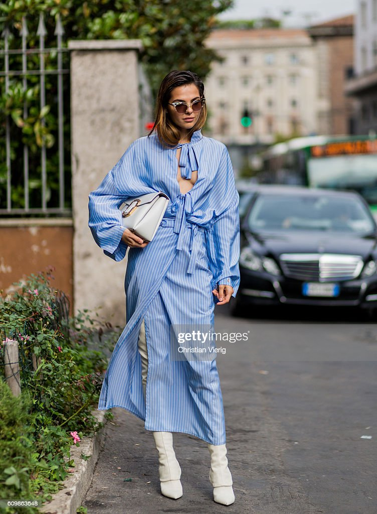 Doina Ciobanu outside Max Mara during Milan Fashion Week Spring/Summer 2017 on September 22, 2016 in Milan, Italy.