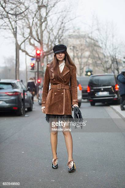 Doina Ciobanu outside the Francesco Scognamiglio show at a ShangriLa hotel on January 23 2017 in Paris France