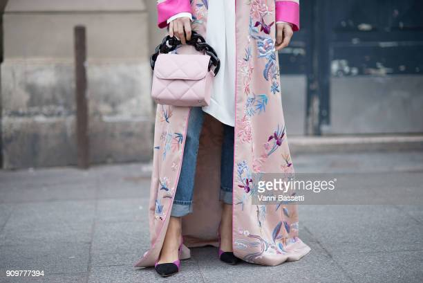 Doina Ciobanu poses after the Viktor and Rolf show at the Gaite Lyrique during Paris Fashion Week Haute Couture Spring Summer 2018 on January 24 2018...