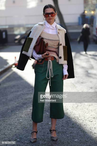 Doina Ciobanu seen attending the JW Anderson show at Yeomanry House during LFW February 2018 on February 17 2018 in London England