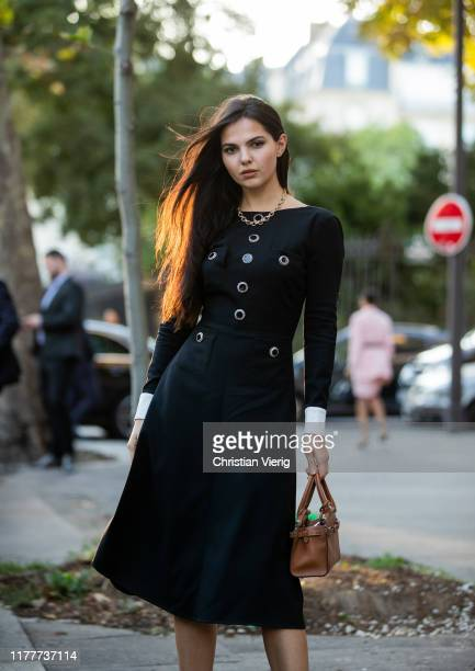 Doina Ciobanu seen wearing black dress outside Alessandra Rich during Paris Fashion Week Womenswear Spring Summer 2020 on September 27, 2019 in...