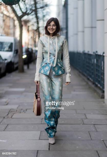 Doina Ciobanu wearing a Loewe bag wearing a Antonio Berardi suit hoody outside Erdem on day 4 of the London Fashion Week February 2017 collections on...