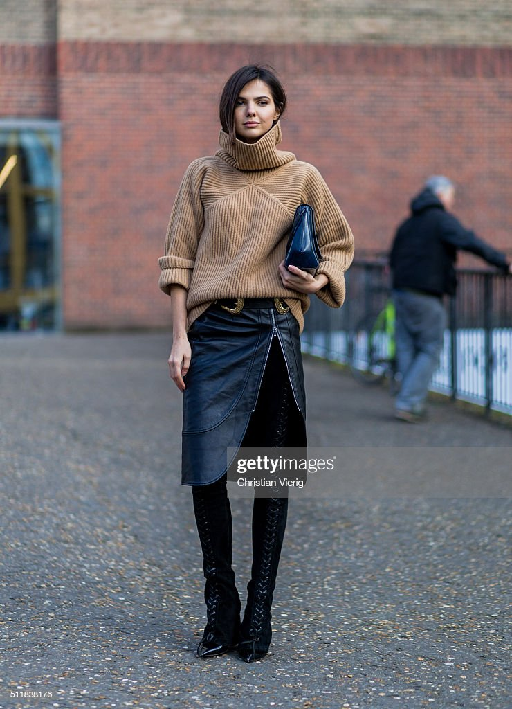 Doina Ciobanu wearing a Paul Smith turtleneck, Christopher Kane bag, Dimitri leather skirt seen outside Christopher Kane during London Fashion Week Autumn/Winter 2016/17 on February 22, 2016 in London, England, United Kingdom.