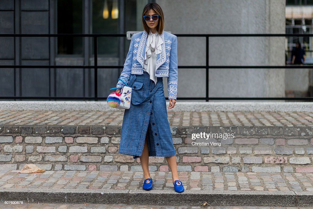 Doina Ciobanu wearing a white Dior bag, Temperley London blazer Ruban skirt, Rejina Pyo shoes outside Preen during London Fashion Week Spring/Summer collections 2017 on September 18, 2016 in London, United Kingdom.
