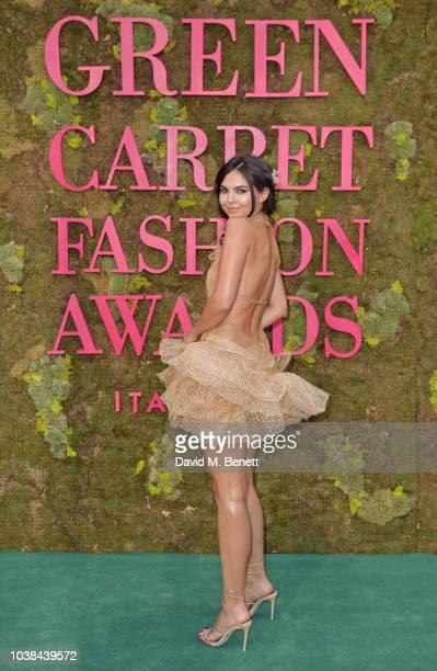 Doina Ciobanu wearing JeanLouis Sabaji Couture attends The Green Carpet Fashion Awards Italia 2018 at Teatro Alla Scala on September 23 2018 in Milan...