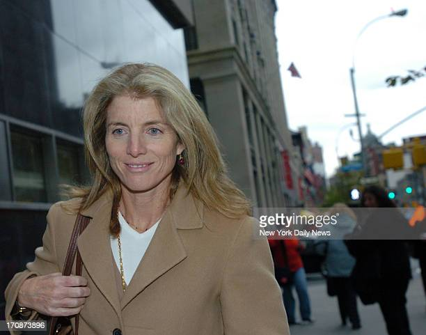 Caroline Kennedy Schlossberg leaves Manhattan Supreme Court after her first day of deliberations on a jury that must decide whether two cabbies are...