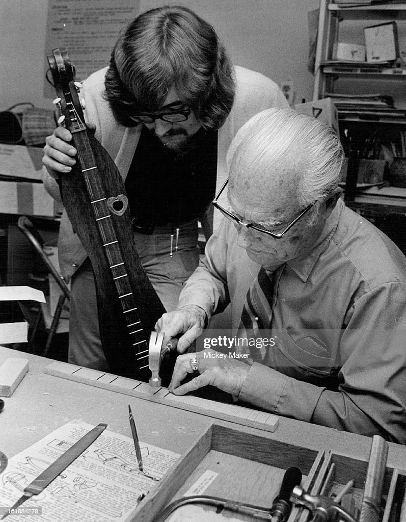APR 27 1974, MAY 1 1974; Do-It-Yourself Dulcimers; Geoffrey Johnson of Hughes Dulcimer Co. instructs : News Photo
