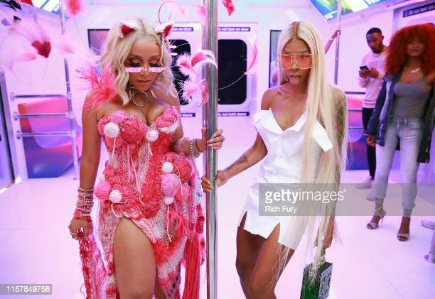 Doja Cat and Lala Milan attend the InstaCarpet during the BET Awards 2019 at Microsoft Theater on June 23 2019 in Los Angeles California