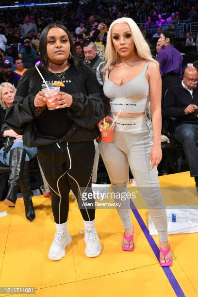 Doja Cat attends a basketball game between the Los Angeles Lakers and the Brooklyn Nets at Staples Center on March 10 2020 in Los Angeles California