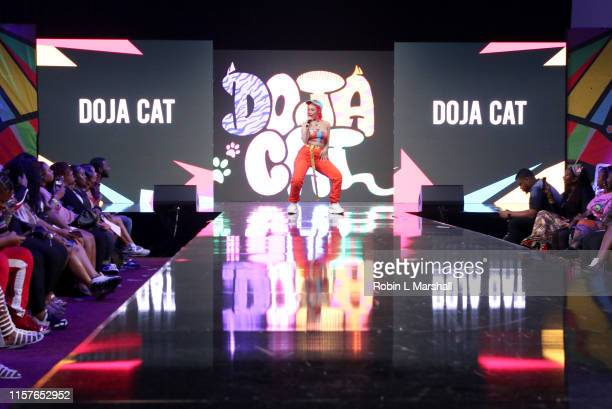 Doja Cat performs at BET Her Presents Fashion Beauty during the BET Experience at Los Angeles Convention Center on June 22 2019 in Los Angeles...
