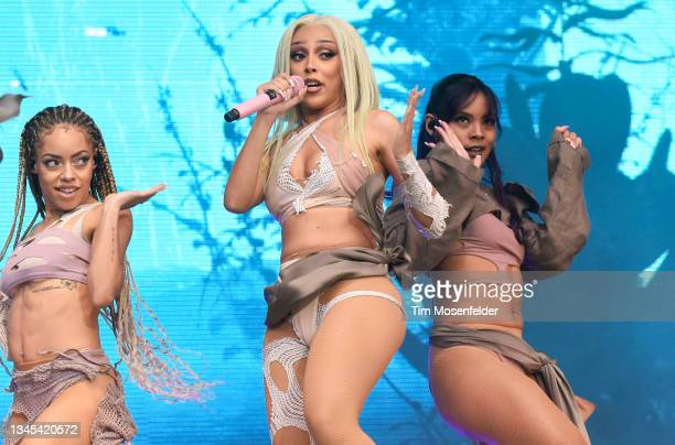 Doja Cat performs during the ACL Music festival at Zilker Park on October 02, 2021 in Austin, Texas.