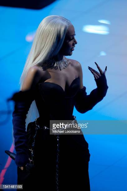 Doja Cat speaks onstage during the 2021 MTV Video Music Awards at Barclays Center on September 12, 2021 in the Brooklyn borough of New York City.