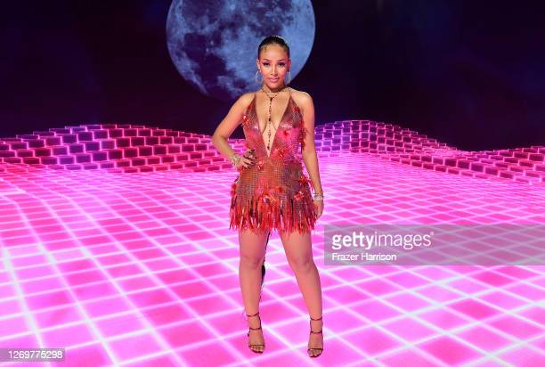 Doja Cat, winner of the PUSH Best New Artist award, presented by Chime Banking, poses in the winners room during the 2020 MTV Video Music Awards,...