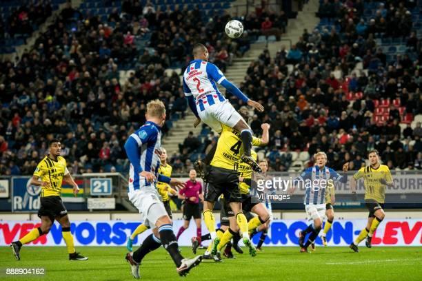 Doke Schmidt of sc Heerenveen Denzel Dumfries of sc Heerenveen Roel Janssen of VVV 11 during the Dutch Eredivisie match between sc Heerenveen and VVV...