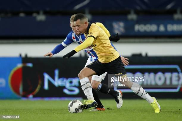Doke Schmidt of sc Heerenveen Giovanni Korte of NAC Breda during the Dutch Eredivisie match between sc Heerenveen and NAC Breda at Abe Lenstra...