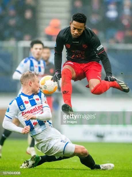 Doke Schmidt of sc Heerenveen Urby Emanuelson of FC Utrecht during the Dutch Eredivisie match between sc Heerenveen and FC Utrecht at Abe Lenstra...