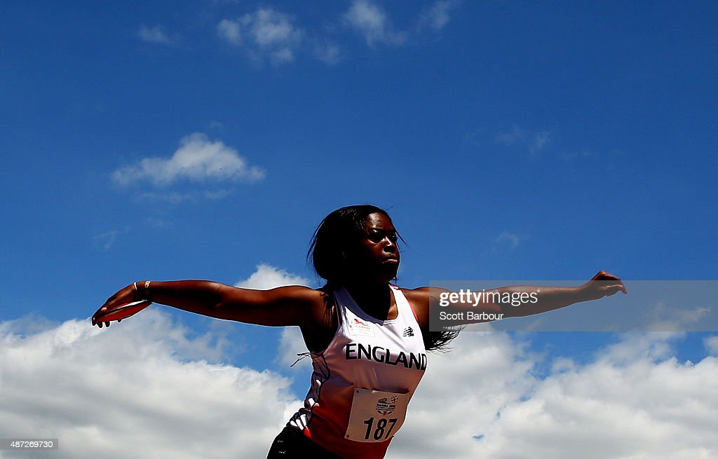 Dolapo Divine Oladipo of England throws in the Girls Discus during the Athletics at the Apia Park Sports Complex on day two of the Samoa 2015 Commonwealth Youth Games on September 8, 2015 in Apia, Samoa.